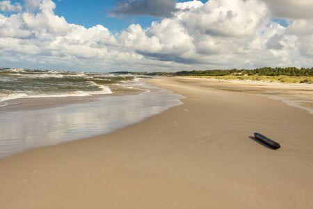 View on Baltic sea and sandy beach - Leba, Poland.