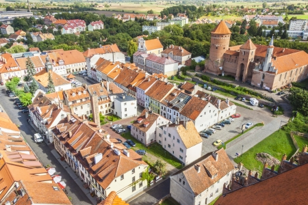 Aerial view on old town Reszel - Poland.