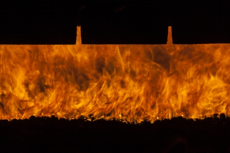 Front of  big industrial furnace - Poland, Power Station. Stock Photo