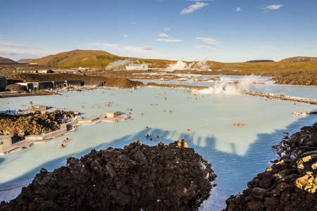 therapy geothermal: View on blue Lagoon in Iceland.