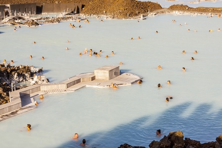 therapy geothermal: Aerial view on Spa - Blue Lagoon in Iceland.
