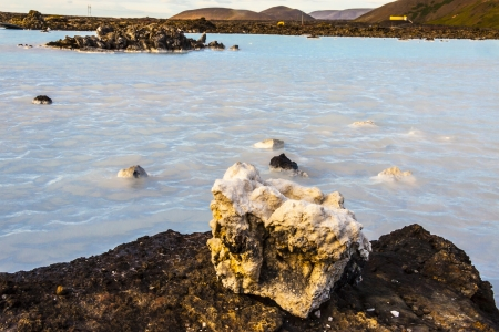 grindavik: Beauty clean  volcanic water in Blue Lagoon - Iceland. Stock Photo