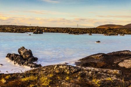 grindavik: Clean volcanic water in Blue Lagoon - Icelandic Spa. Stock Photo