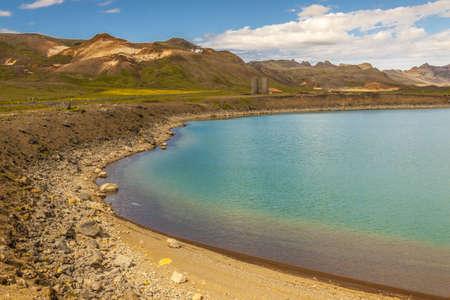 grindavik: View on Kleifarvatn lake in Iceland. Summer day.