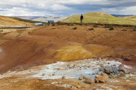 grindavik: Colorful landscape in Iceland  Geothermal area near Grindavik