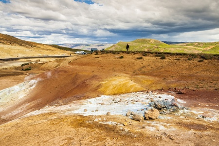 grindavik: Icelandic colorful landscape - geothermal area near Grindavik  Rainy day  Stock Photo