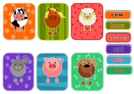 colurful: Six simple icons - animals from farm.