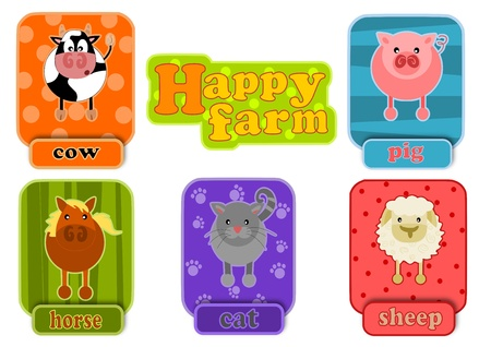 Simple icons of animalas from happy farm. Stock Vector - 16391472