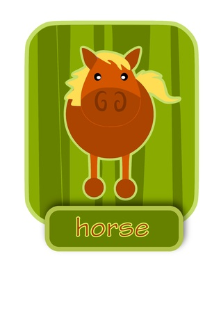 Simple icon - horse on green background.  Stock Vector - 16402314