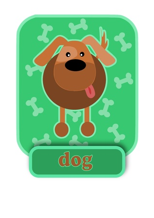 Happy mongrel dog onb green background.  Vector