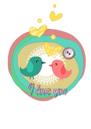 Birds in love - card for valentines day. Vector