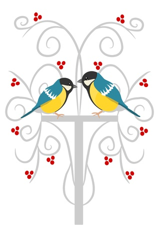 Two tits on the branch in background red rowan tree Stock Vector - 16391485