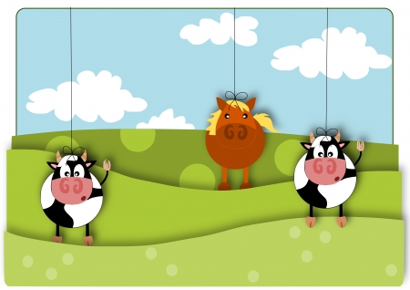 Animals marionette - rural view summer day.  Stock Vector - 16391488
