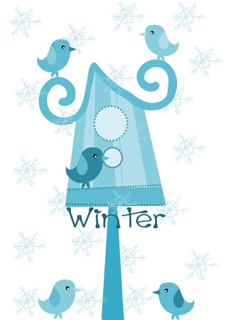 Bird feeder and sparrows - winter time. Vector