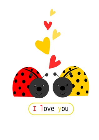 Two ladybird in love - illustration with text  Vector