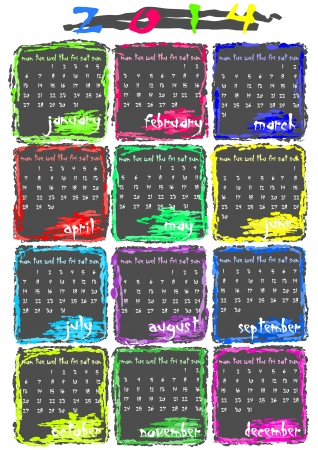 Simple but colourful calendar for 2014 year