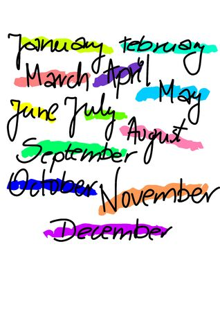 All months text - colourful illustration Stock Vector - 16915530
