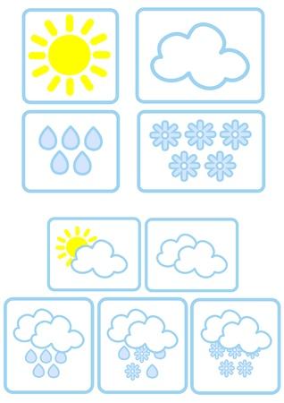 iconos del clima: Iconos simples del clima Vectores