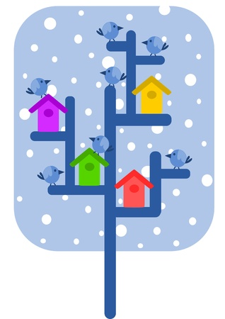 Winter time - sparrows and colourful bird feeders on the tree  Vector