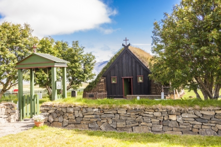 View on front of old wooden Vidimyri church - Iceland Stock Photo - 17169152