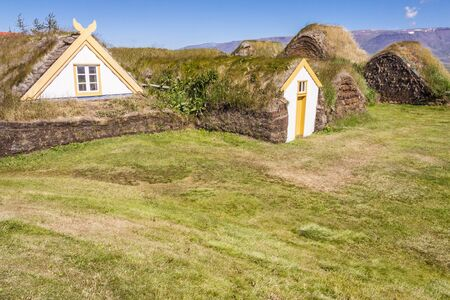 Typical Icelandic farm with mossy roofs - Glaumber, Iceland