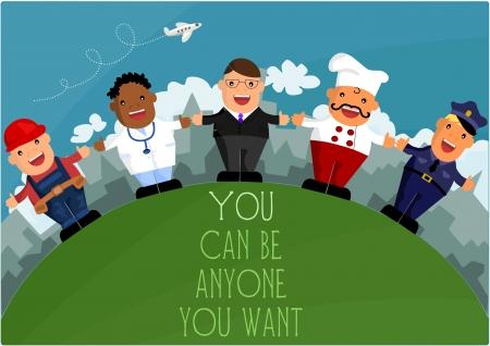 Vous pouvez �tre qui vous voulez - les diff�rentes professions Illustration