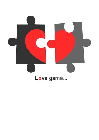 broken unity: Red heart in two parts - vector illustration for valentine day