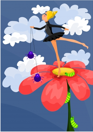 Young beauty ballerina on the red flower - vector illustration  Stock Vector - 17169200