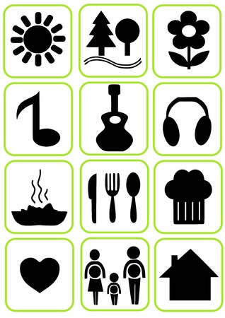 Simple icons set for vacation time   Vector