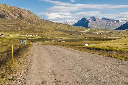 Mountain gravel route from Brunastadir village to Olafsfjordur town  Iceland  photo