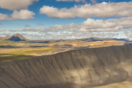 crater highlands: View from top of hverfjall volcano - Iceland  Myvatn area  Stock Photo