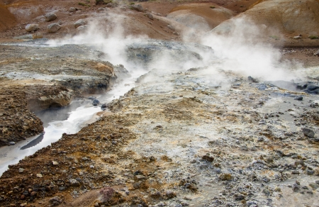 grindavik: Hot springs on geothermal area in Iceland.