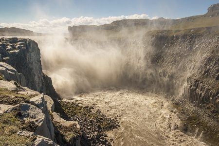 Dettifoss - largest waterfall in Europe on Jokulsa a Fjollum river -  Jokulsargljufur National Park  Iceland photo