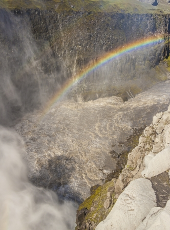 Rainbow over the Dettifoss - largest waterfall in Europe on Jokulsa a Fjollum river -  Jokulsargljufur National Park  Iceland photo