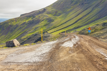 Gravel mountain route number 917 from Vopnafjordur -  Iceland  photo