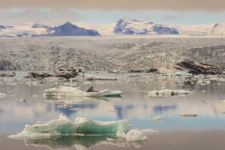 Vatnajokull glacier and Jokulsarlon lagoon - Iceland  Summer day  Stock Photo
