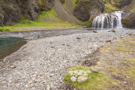 Mountain brook and small cascade - south part of Iceland. photo