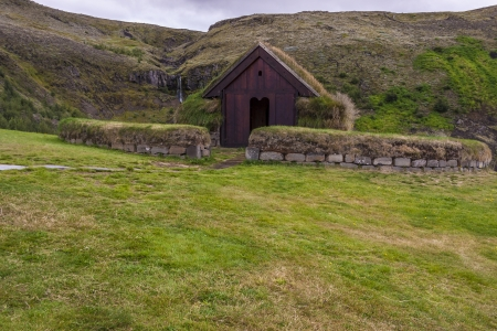 Traditional viking church with mossy roof in Pjodveldisbaer - Iceland. Stock Photo - 17884537