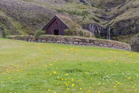 Traditional viking house with mossy roof in Pjodveldisbaer - Iceland. Stock Photo - 17881502