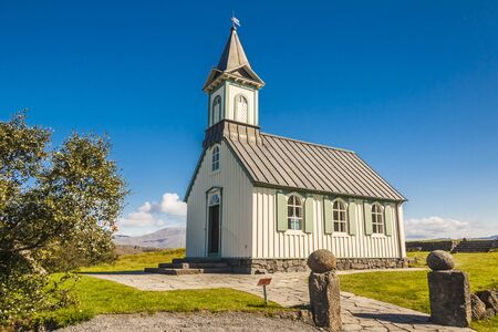 country church: Pingvallkirkja wooden church - Iceland  Stock Photo