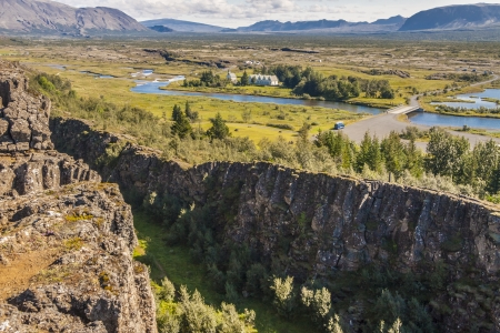 View on Thingvellir valley  - Iceland   The seam between the Eurasian and North American tectonic plates