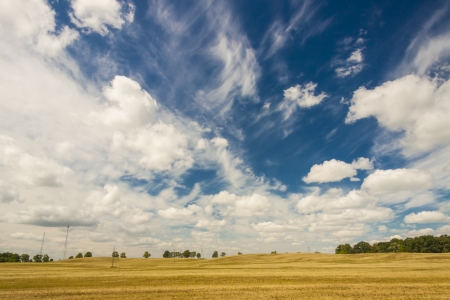 View on blue sky white clouds and field on harvest time. Stock Photo - 17997865