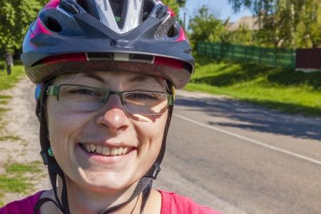 Portrait of young happy cyclotourist women - Ukraine.