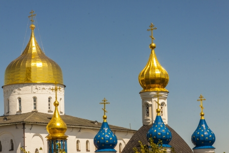 Golden and blue towers of Pochaiv Monastery - Ukraine. Stock Photo - 17997843
