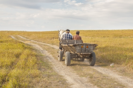 old wood farm wagon: Two man on old wooden cart - harvest time on Ukraine. Stock Photo
