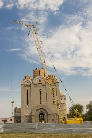 View on modern orthodoxy church under construction - Uman, Ukraine, Europe. photo