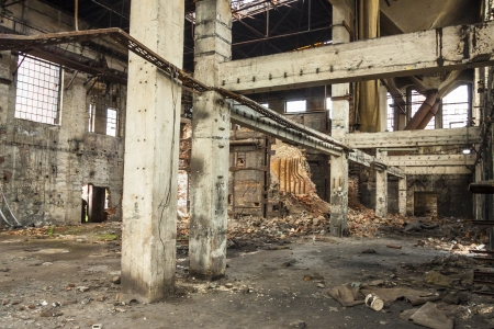 desolated: Interior of old abandon hall in Kalety - Paperworks  Poland, Silesia province  Stock Photo