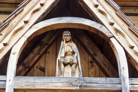 zakopane: Beauty pattern wooden figure of Jesus Christ - Jaszczurowka, Chapel, Zakopane, Poland.