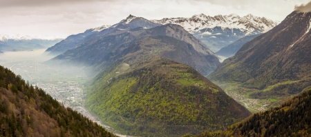 Panoramic view on Rhone valley - Switzerland. In background Martigny town.