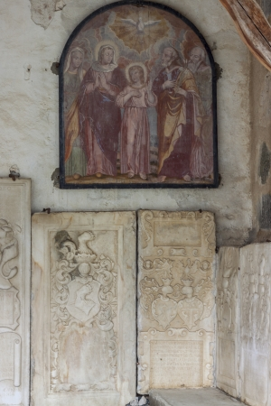 Front wall of old beauty church of St. John in Mustair, World Cultural Heritage, Switzerland photo